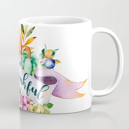 Be thankful typography & fall harvest bouquet Coffee Mug