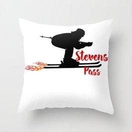 Ski speeding at Stevens Pass Throw Pillow