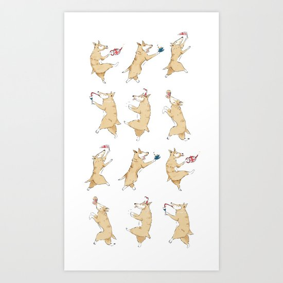 Queen's Corgi Dance Art Print