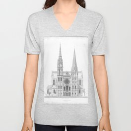 Cathedrale De Chartres Chartres Cathedral Unisex V-Neck