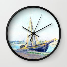Boat on a beach Wall Clock