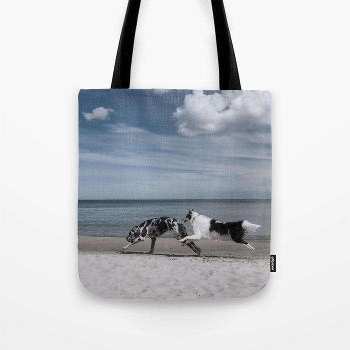 Running dogs at the beach Tote Bag