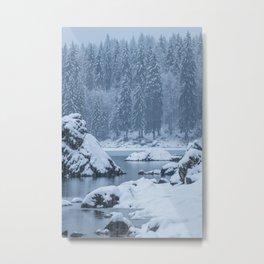Heavy snow fall lake Fusine, Italy Metal Print