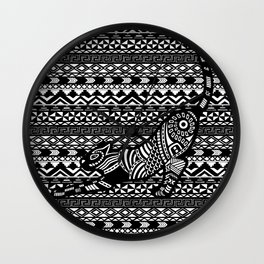 Black & White Tribal Cat on pattern Wall Clock
