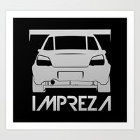 subaru Art Prints featuring Subaru Impreza - silver - by Vehicle