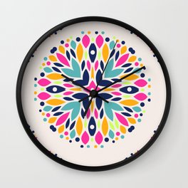 Colorful Ethnic Festive Abstract Floral Pattern Wall Clock