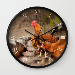 Rhode Island Red chickens posing Wall Clock