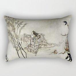 """Fairies Dancing on Spiderweb"" by Arthur Rackham Rectangular Pillow"