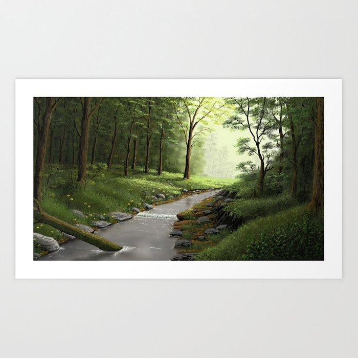 Tranquil Morning Forest Art Print