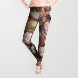 White Roses and Butterflies (Red) Leggings