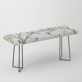 Chinoiserie Panels 1-2 Silver Gray Raw Silk - Casart Scenoiserie Collection Bench