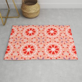 Pretty Pink Red Moroccan Mosaic Geometric Star Pattern Tile Rug