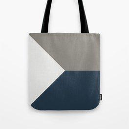 Blue Grey White Abstract Geometric Art Tote Bag