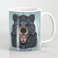 ornate Mugs featuring Ornate Black Bear by ArtLovePassion