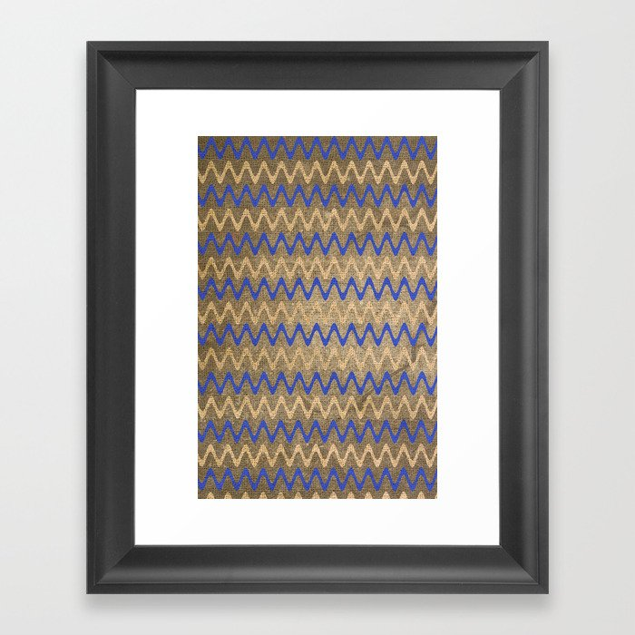 Blue and Tan Zigzag Stripes on Grungy Brown Burlap Graphic Design Framed Art Print
