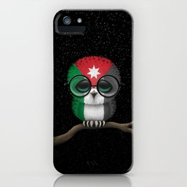 Baby Owl with Glasses and Jordanian Flag iPhone Case