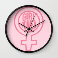 girl power Wall Clocks featuring Girl Power by aesthetically