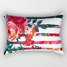Bohemian pink orange blue black watercolor stripes floral Rectangular Pillow