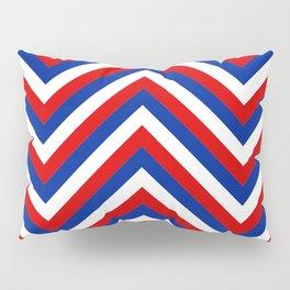 Red White and Blue French Flag Jumbo Chevron Pattern Pillow Sham