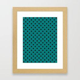 Black on Teal Green Stars Framed Art Print