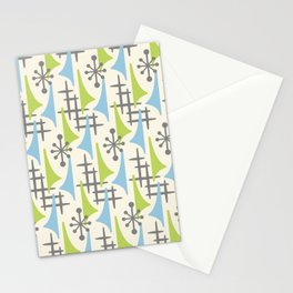 Mid Century Modern Atomic Wing Composition 92 Blue Chartreuse and Gray Stationery Cards