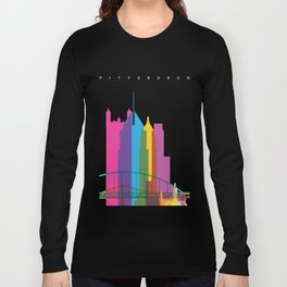 Shapes of Pittsburgh. Accurate to scale Long Sleeve T-shirt