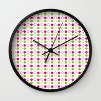 polka dot Wall Clocks featuring Polka Dot by Ryan Grice