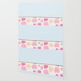 Duck egg blue peony Wallpaper