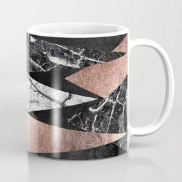 Elegant Modern Marble, Rose Gold, & Black Foil Triangles Coffee Mug