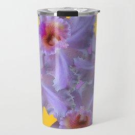 WHITE-PURPLE ORCHIDS YELLOW GARDEN Travel Mug