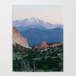Sunrise at Garden of the Gods and Pikes Peak Poster