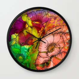Modern Flowers and Shapes - Mixed Media Wall Clock