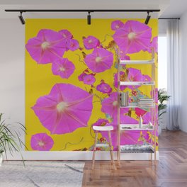 Fuchsia Pink & Gold Morning Glories Colored Pattern Wall Mural