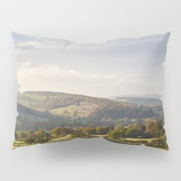 Sunset over trees in the valley. Derbyshire, UK. Pillow Sham