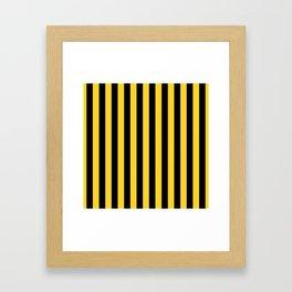 Yellow and Black Honey Bee Vertical Beach Hut Stripes Framed Art Print