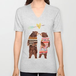 Dancing Bear Couple in Love Unisex V-Neck