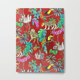 Rainforest Friends - watercolor animals on textured red Metal Print