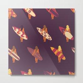 Surfer Girl Pattern Purple Metal Print