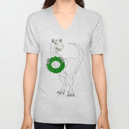 Dino made a Wreath Unisex V-Neck