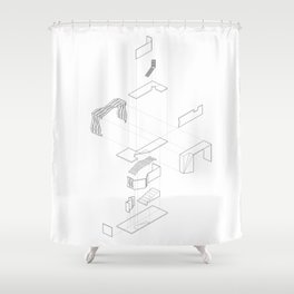 Exploded Axon Shower Curtain