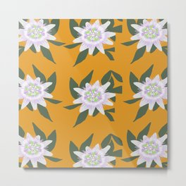 Passion Flower Pattern Metal Print