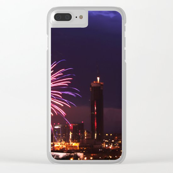 Firework in storm clouds Clear iPhone Case