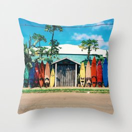 Surfboard Rainbow Throw Pillow