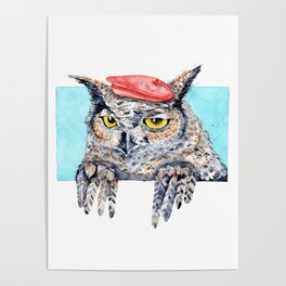 Serious Horned Owl in Red Beret Poster