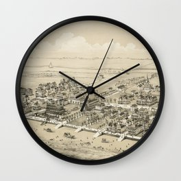 Vintage Pictorial Map of Sea Isle City NJ (1885) Wall Clock