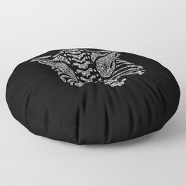 spine ribcage anatomical doodle intricate white on black Floor Pillow