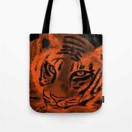 Tiger with Orange Background Tote Bag
