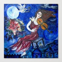 Blue Violinist Canvas Print