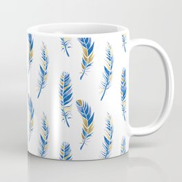 Watercolour Feathers - Navy and Gold Coffee Mug