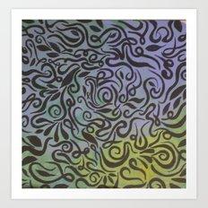 Blue vines  Art Print
